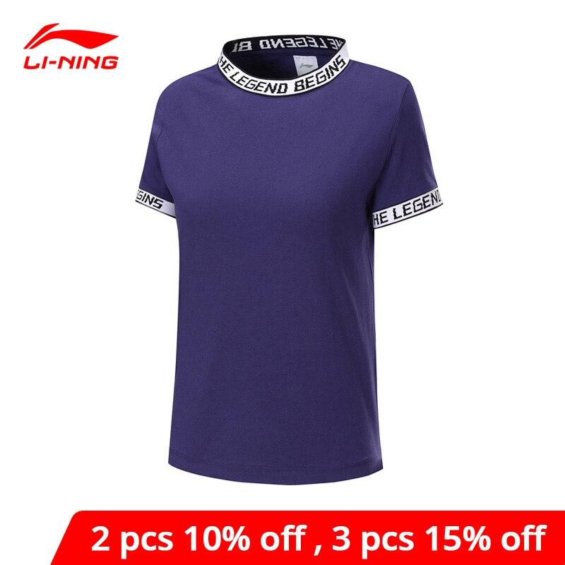 Li-Ning Women The Trend Short Sleeve Tee Jerseys 100% Cotton Loose Fit LiNing Li Ning Sports Tshirts Tops AHSP112 WTS1508
