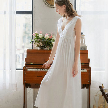 Long Lace Sleeveless Victorian Nightgown Clothes Nighty cb5feb1b7314637725a2e7: Blue|Pink|White
