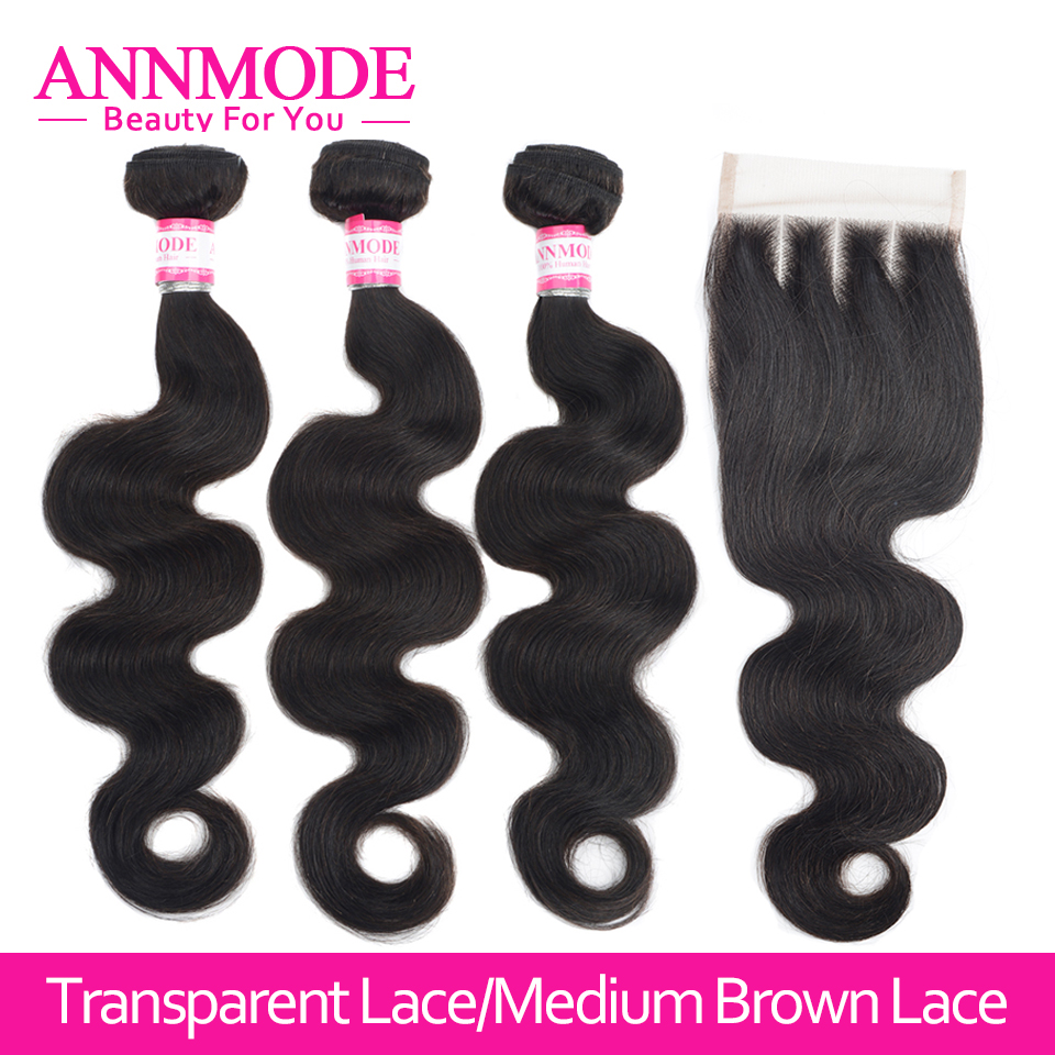 Malaysian Body Wave 3/4pc Human Hair Extensions With Closure 4x4 Transparent Lace Closure With Bundles Non Remy Annmode Hair