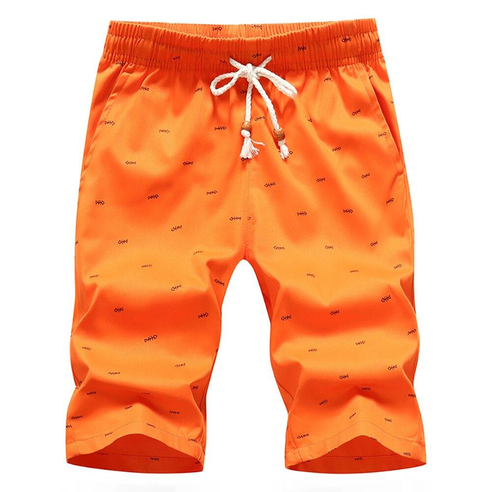 Summer Men Casual Solid Color Sport Short Pants Fishbone Print Drawstring Pockets Cotton Beach Shorts Fifth Pants 5