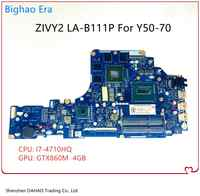 ZIVY2-placa base LA-B111P para ordenador portátil Lenovo Y50 Y50P, placa base con Y50-70, I7-4710HQ, 100%, completamente probada