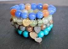 gunmetal color charm bracelet pave rhinstone bracelet amazonite beads bracelet for women natural stone for women Boho Pave Rhinestone HeartCharm Bracelet Women  Bracelet For Women imperial jasper Agate Beads Bracelet