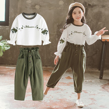 цена на 2019 Spring Girls Clothing Sets Fashion Embroidery Blouse+pants 2 Pcs Princess Suit For 6 7 8 9 10 11 12 Years Kids Girl Clothes