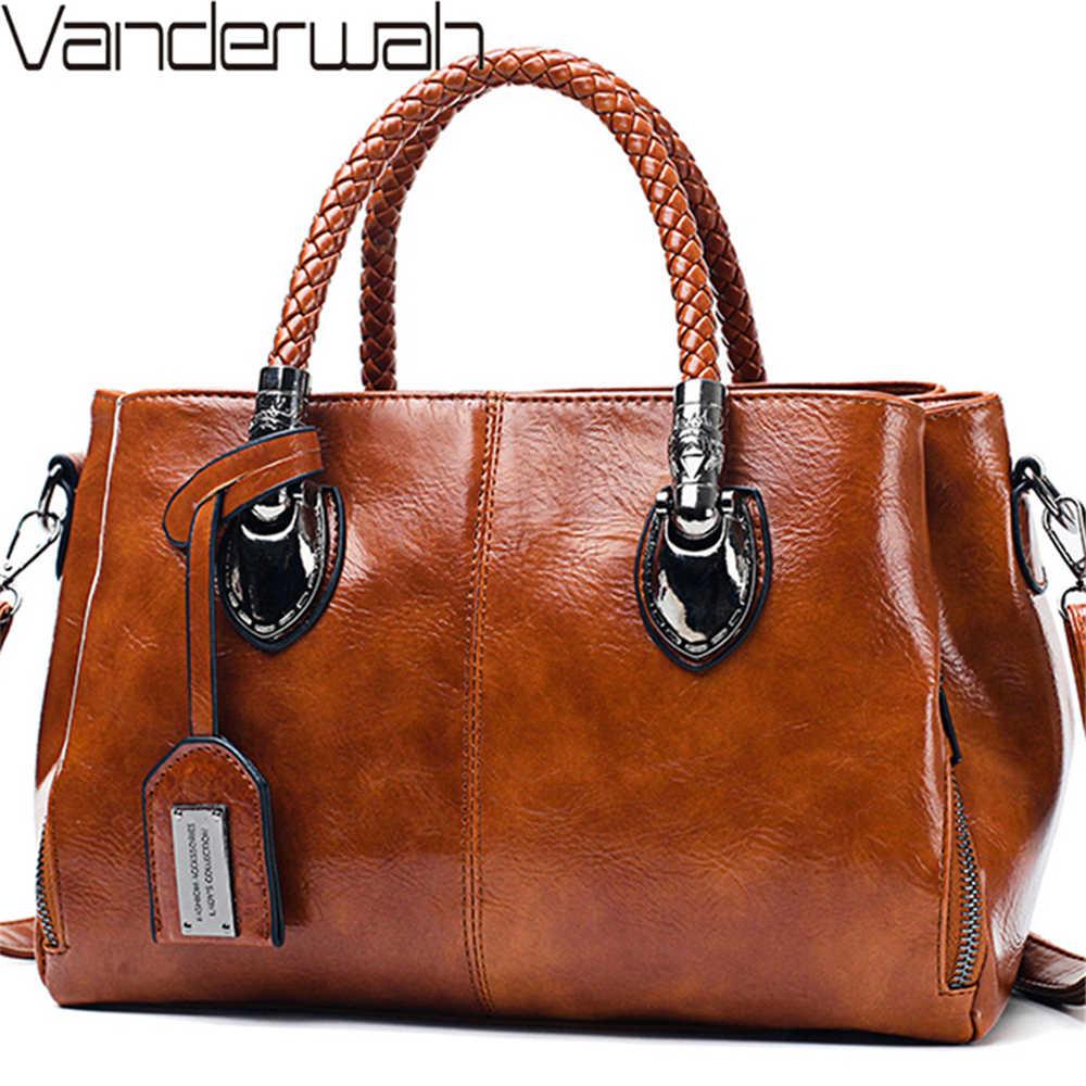 ヴィンテージオイルワックス革の高級ハンドバッグの女性のバッグデザイナーの女性のハンドバッグ女性のための 2019 バッグ嚢ボルサ Feminina