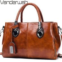 Bolsos de mano Vintage de cera de aceite de cuero de lujo Bolsos De Mujer bolsos de mano de diseñador para mujeres 2019 bolsa de bolsa a mujer principal bolsa Feminina