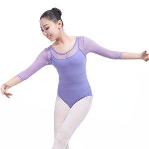 Image 5 - Yetişkin jimnastik Leotard siyah örgü dans 5 renk üç çeyrek kollu bale s kadınlar için Justaucorps
