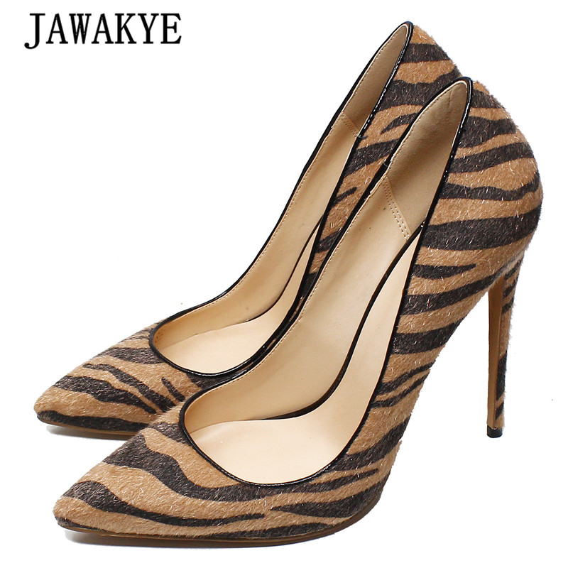 High-Heel Shoes Pumps Women Pointed-Toe Zebra Stripe Sexy Fashion Woman Horsehair Party