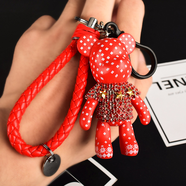 Handmade DIY Craft Rhinestone Cartoon Bomgom Bear Keychain Leather Rope Tassel Key Chain Gloomy Bag Charm Pendant Gift 4