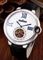 Reloj mecánico automático de marca de lujo para hombre, plata, rosa, oro, marrón, negro, cuero, turbillon, zafiro, espalda, deporte AAA +
