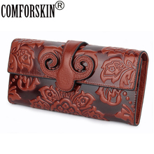 COMFORSKIN Premium Genuine Oil Waxing Leather Unique Embossed Floral Woman Purse Famous Brand Long Cover Style Womens Wallets