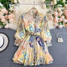 Robe courte imprimée rétro pour femme, nouvelle collection automne, ceinture élégante, Slim, Style Court, PL540