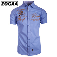 2019 New Mens Shirt Fashion Casual Short Sleeve Slim Fit Summer Club Men ZOGAA
