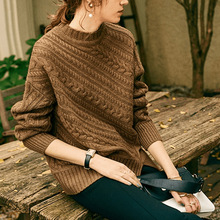 Retro autumn winter wool sweater female 2019 new high collar solid color pullover loose wild commuter bottoming shirt
