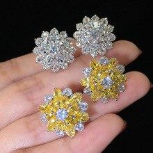 Bling Zircon Stone Flower Silver Color Stud Earrings for Women Fashion Jewelry Korean Earrings Hot Sale big bling square zircon stone silver stud earrings for women korean earrings fashion jewelry 925 silver