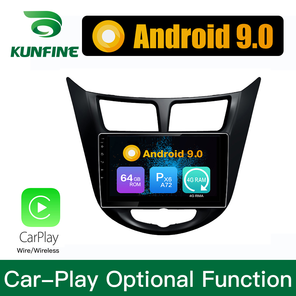 Octa Core 1024*600 Android 8.1 Car DVD GPS Navigation Player Deckless Car Stereo For Hyundai Verna  Accent  Solaris 2010  Radio