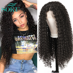 Kinky Curly Lace Front Wig Middle Part Synthetic Wig With Baby Hair SOKU Natural Color Heat Resistant Fiber Hair For Black Women