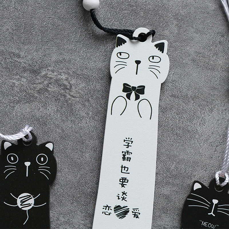 1X Kawaii Black White Cat Wooden Bookmarks Books Marker of Page Stationery School Office Supply Student Prize