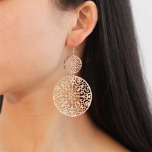 Fashion Retro Hollow Round Frosted Drop Earrings for Women Simple National Wind Carved Dangle Jewelry Party Gift WD440