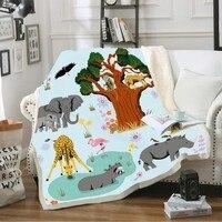 Cartoon Animal Fleece Throw Blanket for Kid Forest Elephants Fox Grove 3D Print Soft Sherpa Throw Blanket Home Bedding 150x200cm