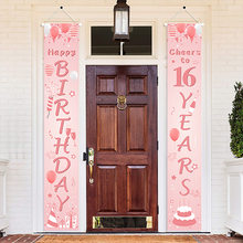 Rose Gold 16th Sweet 16 Birthday Party Decor Happy Birthday Balloons Garland For 16 Years Old Party Meet 16 Birthday Supplies