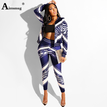 Aimsnug Fashion Chain Print 2 Piece Set Women Top And Pants Sets Casual Outfit Sweat Suits Two Sweatshirt Tracksuit