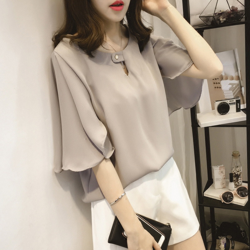 short sleeve 2020 summer women's shirt blouse for women blusas womens tops and blouses chiffon shirts ladie's top plus size 9