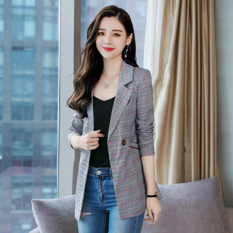 2020 Korean Spring Casual Women's Blazer Office Suit Fashion Casual Check Feminine Jacket High Quality Elegant Interview Outfit