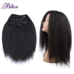 Blice Synthetic Long Yaki Straight Women Clip in Hair Extensions 16-20Inch 5Pcs/Set Total 160g Hairpieces Sale