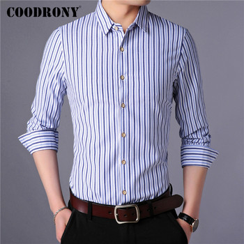 COODRONY Long Sleeve Shirt Men Clothes Spring Autumn Classic Striped Cotton Shirts Business Casual Camisa Social Masculina C6016 2018 spring cotton dress shirts for men good quality long sleeve camisa social masculina hawaiian shirt