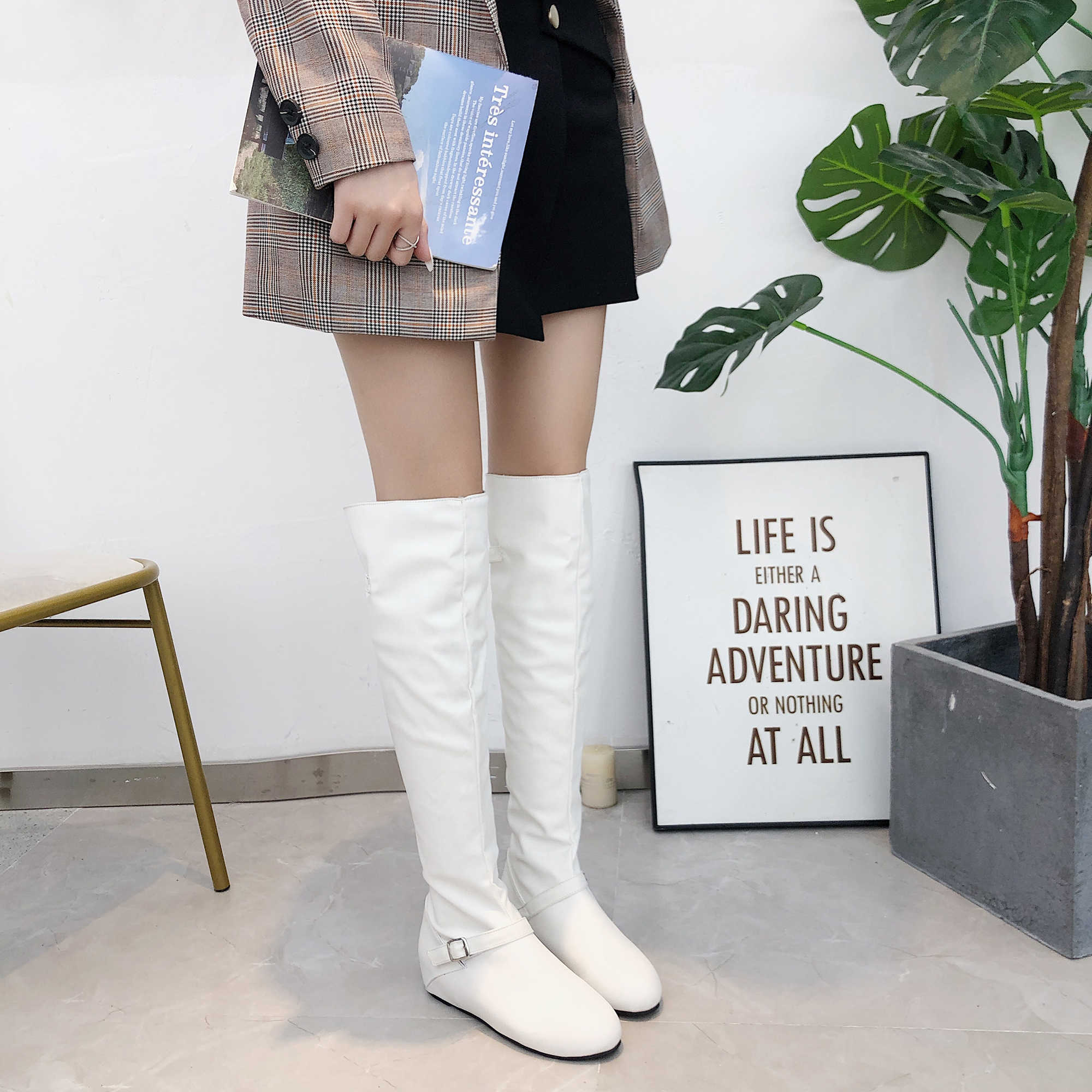 ผู้หญิงรองเท้าเข่ารองเท้าส้นสูง Lace Up ผู้หญิง Buckle รองเท้าผู้หญิงแฟชั่นรองเท้าหนังหญิง Plus ขนาด 42 43 สีดำสีขาว