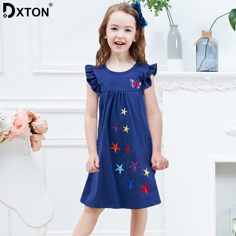 DXTON 2020 Summer Girls Dress Flare Sleeve Dresses For Girls Butterfly Casual Children Dress Cotton Applique New Kids Clothing