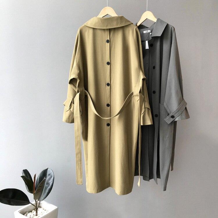 Mooirue Fall Female   Trench   Coat Back Single Breasted Padded Slim Casual Harajuku Oversized Cardigan Female Tops