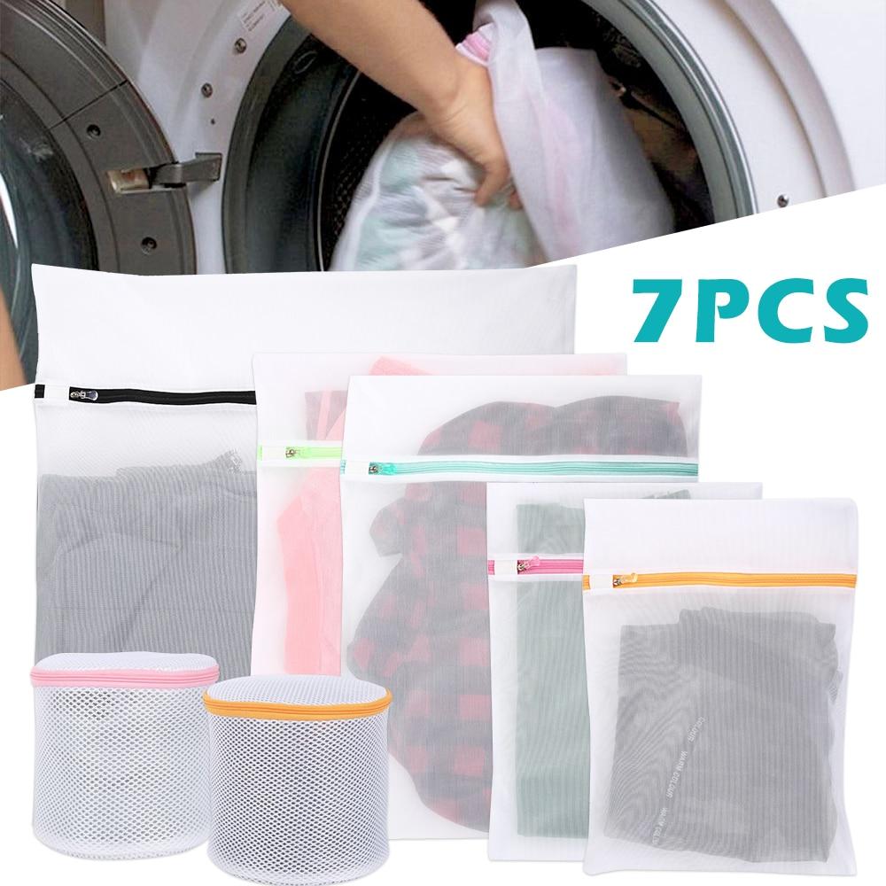 7pcs Laundry Bag For Washing Machines Bra Aid Lingerie Mesh Net Wash Bag Pouch Laundry Basket Mesh Laundry Bag