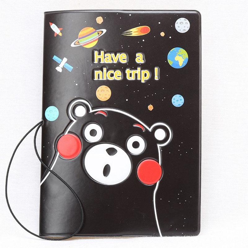1 Pcs Creative Kumamon Passport Holder Design Fashion Cartoon Bear Identification Card Case New Passport Coves Document Bag