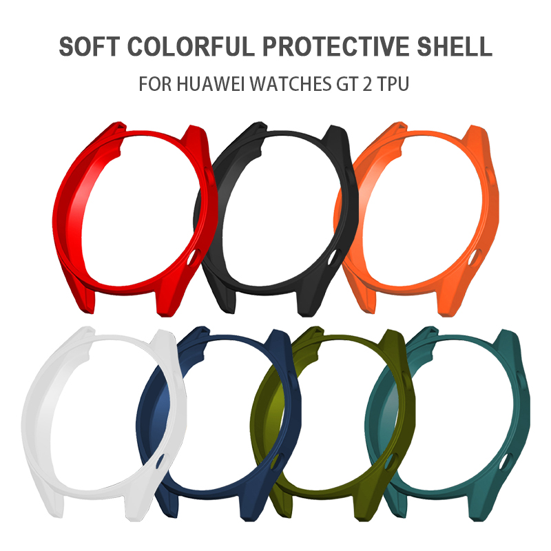 Pohiks Full Protective Cover For Huawei GT/GT2 TPU Watch Ultra-Slim Colorful Hard Watch Case 9H HD Glass Film For Huawei GT/GT2