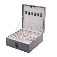 PU Leather Jewelry Storage Box Fingerprint Unlock Watch Necklace Bracelet Display Tray Organizer Large Capacity Storage Case