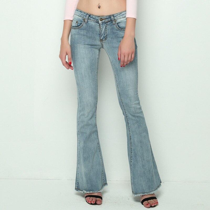 2020 Vintage Low Waist Elastic Flare Jeans Women Retro Style Bell Bottom Skinny Jeans Female Dark Blue Wide Leg Denim Pants A002