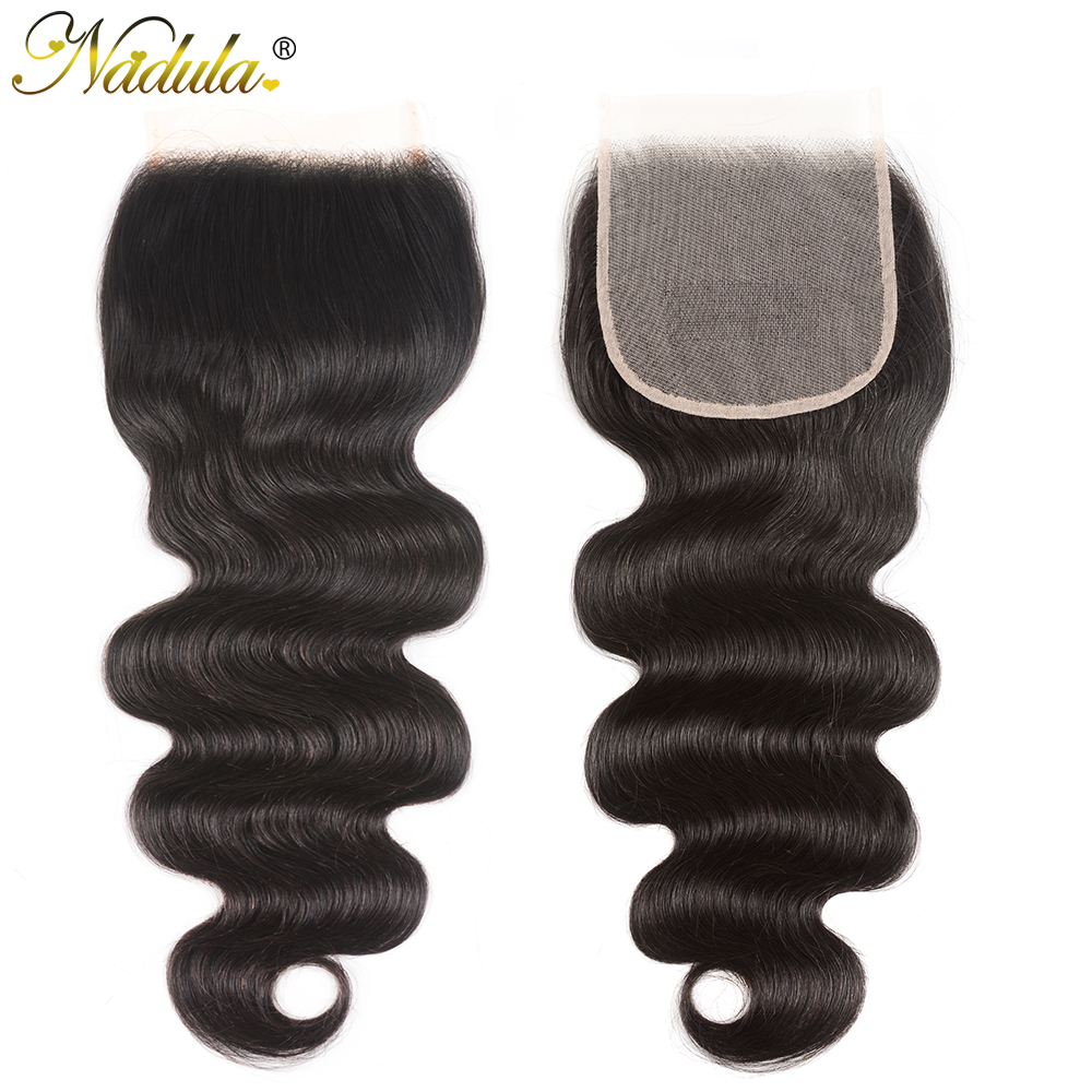 NADULA HAIR 4X4 Lace Closure Body Wave Hair Bundles With Closure Swiss Lace Medium Brown  Closure With Bundles 4