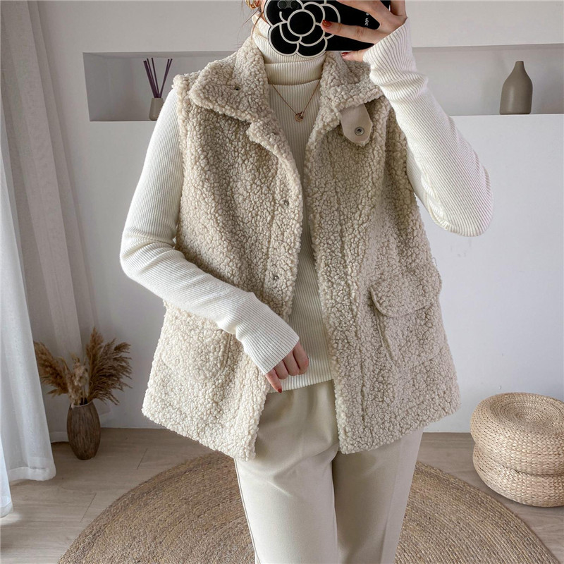 2020 зимний жилет, куртки из овечьей шерсти, утолщенный теплый жилет для женщин, отложной воротник, скрытая пуговица, карманы, верхняя одежда, ...