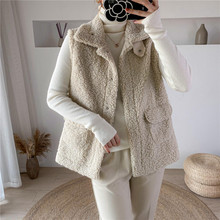 2020 Winter Vest Jackets Lamb Wool Thicken Warm Waistcoat Women Turn Down Collar Hidden Button Pockets Outwear Sleeveless Coat