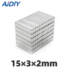 AIDIY 10/30/100 pieces 15x3x2mm  N35 strong Rectangular neodymium magnet permanent small Super powerful magnets 15 * 3 2mm