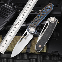2020 New Hot Sale M390 Powder Steel Outdoor Folding Knife Titanium Alloy TC4 Wilderness Camping Survival Hunting Knives Tools