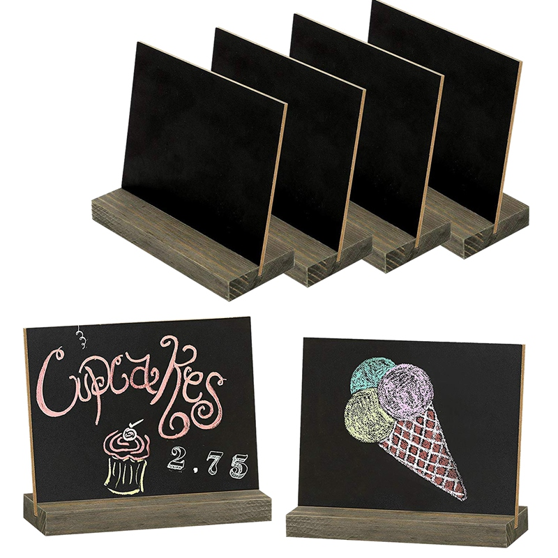 6 Pack Rustic Chalk Board Sign With Wood Stand For Wedding Decorations Signs Labels 6X5 Inch Blackboard