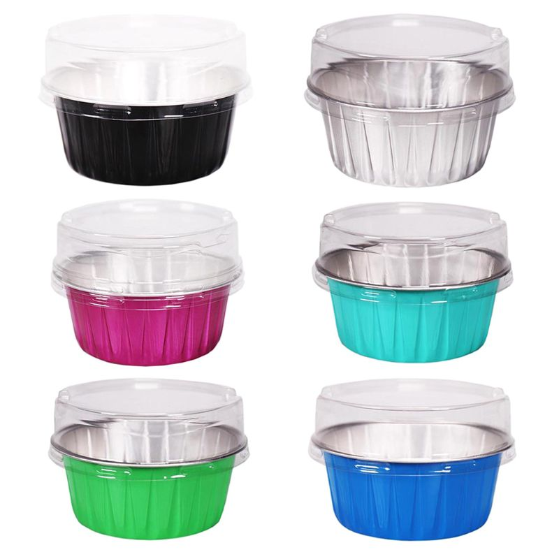 1 Pc Round Shape Melting Wax Bowls Aluminum Foil Baking-resistant Heatable Pudding Cake Baking Bowl Mould