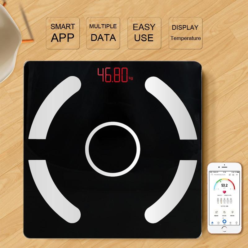 Fashion Bathroom Weight Scale Body Bluetooth Fat Scale BMI Intelligent Electronic LED Digital Component Analyzer Display Fat