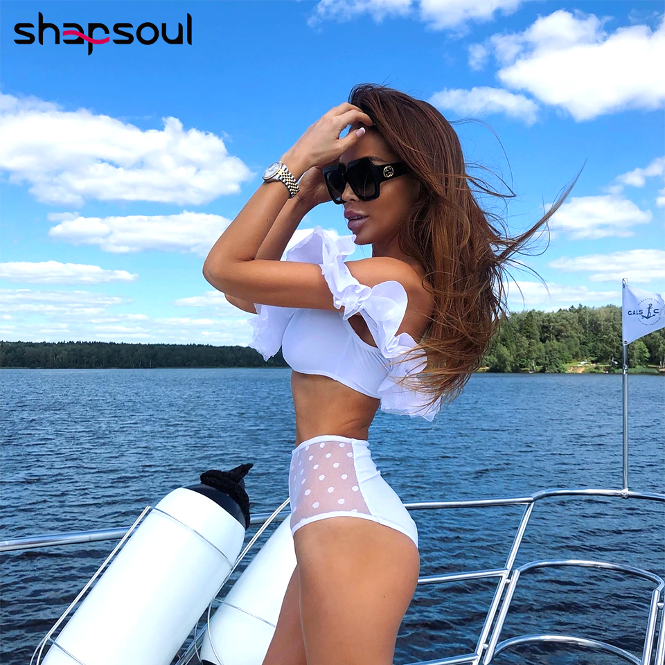 Sexy Off Shoulder Ruffles Bikini Swimwear Women Dot Mesh High Waist Bikini Set Solid Color Swimsuit Push Up Biquini Bathing Suit