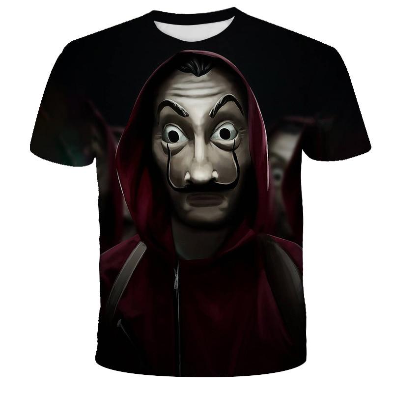 Gracioso La Casa De Papel T camisa 3D La Casa De Papel imprimir dinero robo De niños camisetas Tee superior nuevos niños niñas ropa camiseta|Camisetas|   -