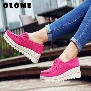 Image 1 - 2020 bahar kadın Flats ayakkabı platformu Sneakers daireler üzerinde kayma deri süet bayanlar loaferlar rahat ayakkabılar kadınlar loafer ayakkabılar