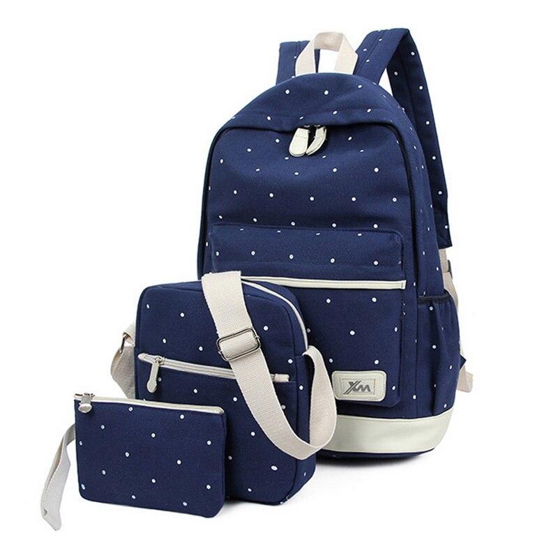 Litthing 3pcs/Set Dot Canvas Printing Backpack Women School Back Bags For Teenage Travel Backpacks Female Schoolbag Backpack