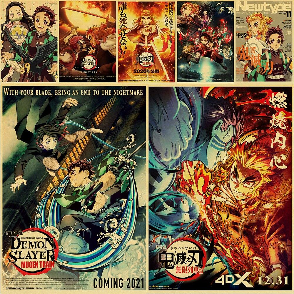 Новейший японский постер Dongman Demon Slayer Kimetsu no Yaiba Mugen Ressha-Hen Ретро Декор стен для дома/бара/кафе/детской комнаты